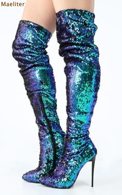Women Glittering Peacock Green Sequin Mermaid Thigh High Boots Bling Bling  Paillette Dress Boots Chic Over a55f4373cd