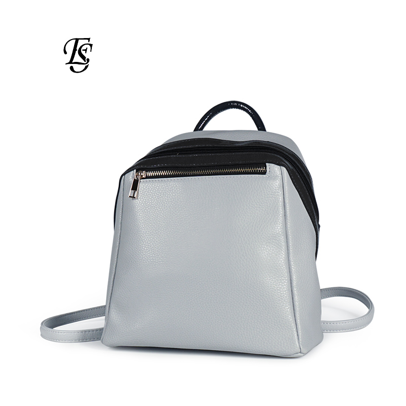 gray small women backpack 2019 bag for women new arrival ladies shoulder bag solid color stitching