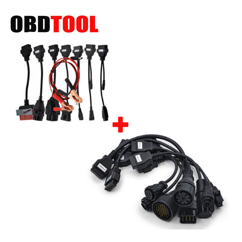 ObdTooL 8 Car Cables + 8 Trucks Cables Full Set Connector Adapter for Auto CDP Pro Tcs Scanner OBD2 Diagnostic Convertor JC10 2016 latest obdii scanner cdp pro plus for delphi ds150e autocom car diagnostic tools scanner with set 8 cables for car