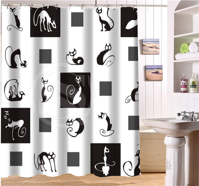 Abstract Sketch Cat Black White Bath Curtain Custom Polyester Fabric Printing Modern Shower Bathroom