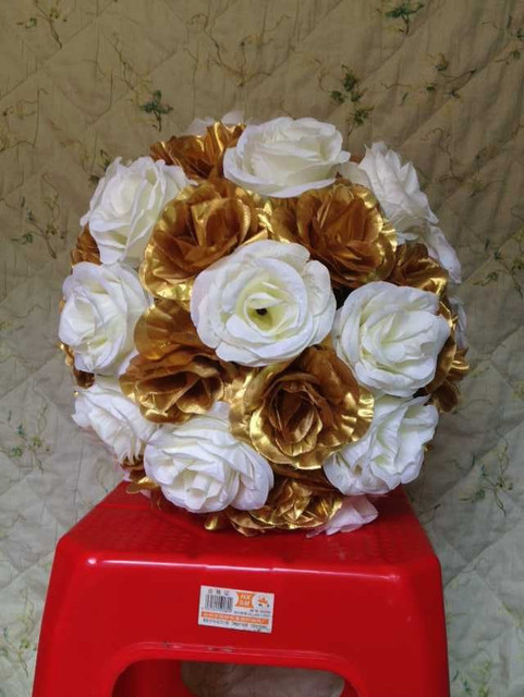 Hot 10pcslot 30cm Wedding Decorations Goldivory Silk Kissing