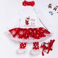 아기 소녀 크리스마스 드레스 + 머리띠 + 다리 따뜻하게 + 신발 세트 겨울 아기 Tolldlers 긴 소매 드레스 4 개 세트 크리스마스 선물