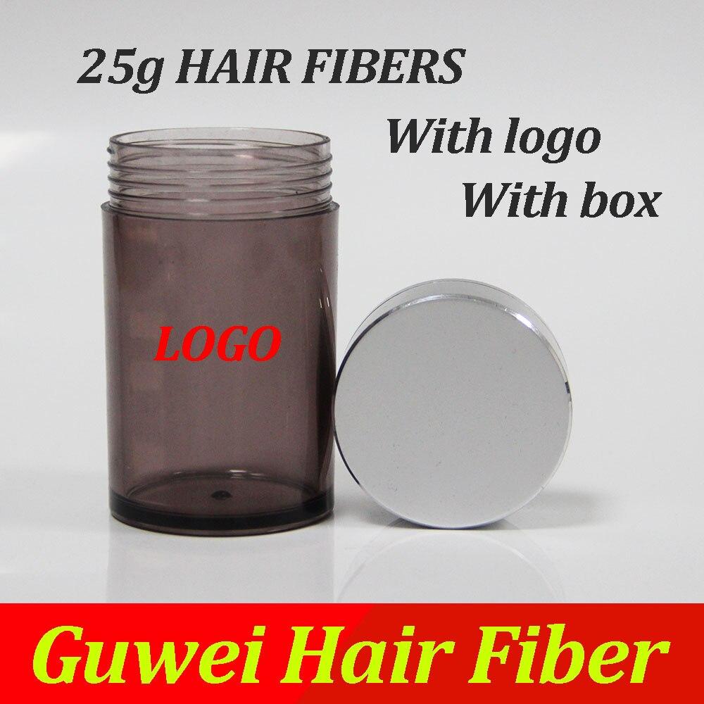 Cabo de fibras de construção cabelo 25g-30g com logotipo e caixa para a perda de cabelo, em segundos para obter um bom estilo de cabelo para você