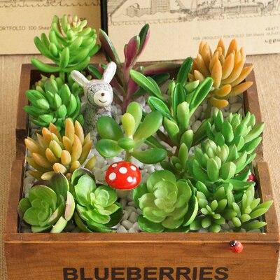 (24 pcs/lot) Wholesale decorative plastic mini flower green simulation plants artificial succulent for living room