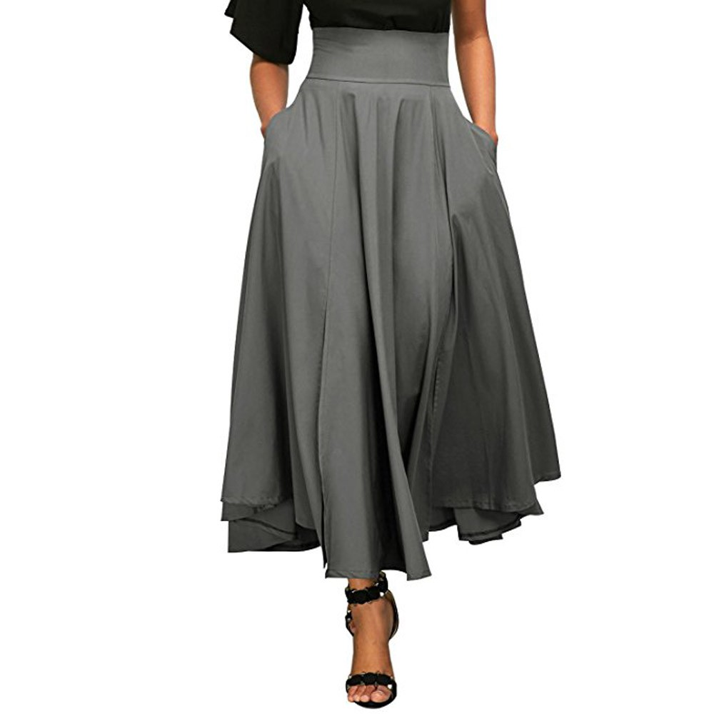 Skirts Women High Waist Autumn Casual Pleated A Line Long Skirt Front Slit Belted with pocket Maxi Skirt Vestido Midi #Z small grill cover