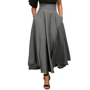 ecb89c3182 ISHOWTIENDA Skirts Women High Waist Pleated Long Skirt Midi