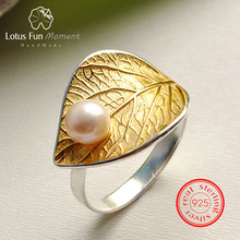 Lotus Fun Moment Real 925 Sterling Silver Vintage Natural Pearl Fashion Jewelry Adjustable Ring Gold Leaf Rings for Women Bijoux(China)