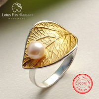 Lotus Fun Moment Real 925 Sterling Silver Vintage Natural Pearl Fashion Jewelry Adjustable Ring Gold Leaf Rings for Women Bijoux
