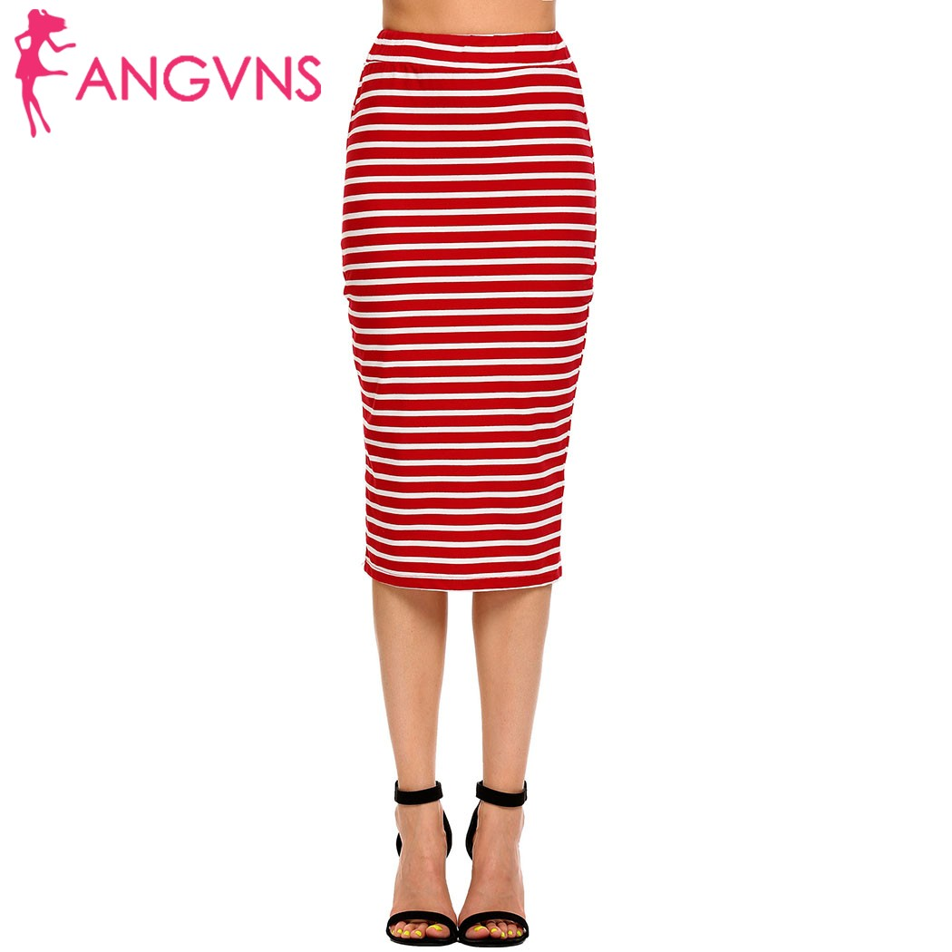 ANGVNS Women Bodycon Striped Skirts faldas mujer Elastic Skirt 2017 Lady Package Hip Midi Pencil Streetwear Mid-calf Skirt Saia