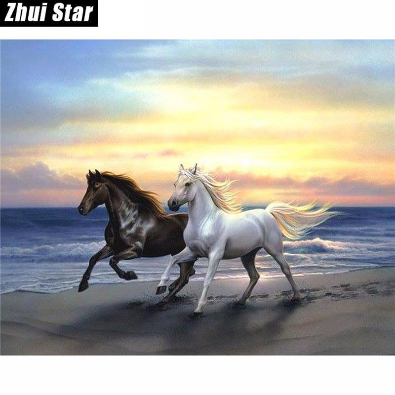 Nová 5D DIY diamantová malba koně běží Zvířata vyšívání Plné náměstí Diamond Cross Stitch drahokamu Mozaika malování Dárky
