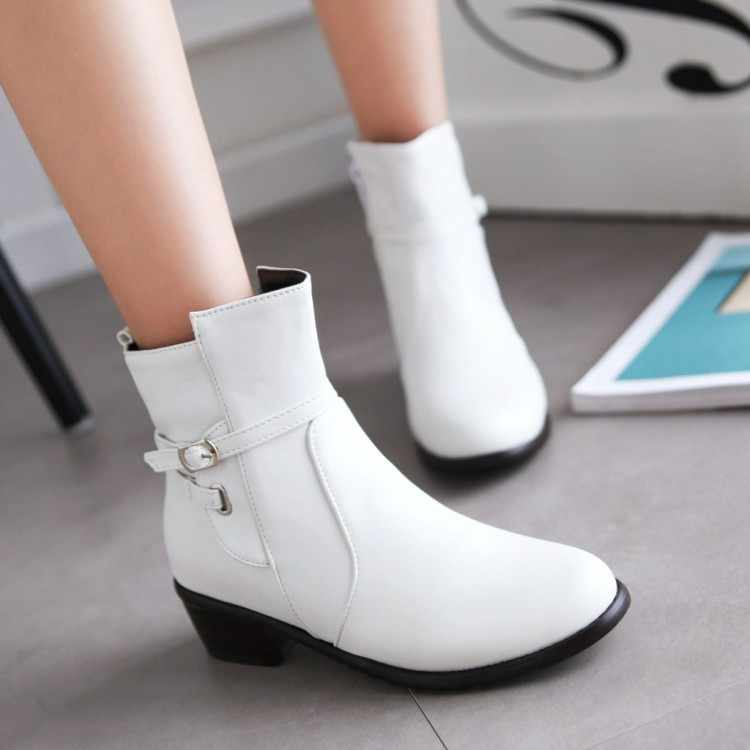 The round toe buckle solid boots flat with women's white large size boots
