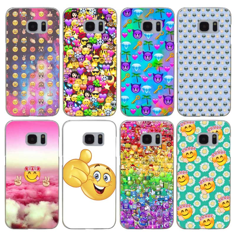 G269 Smile Face Emoji Transparent Hard PC Case Cover For Samsung Galaxy S 3 4 5 6 7 8 Mi ...