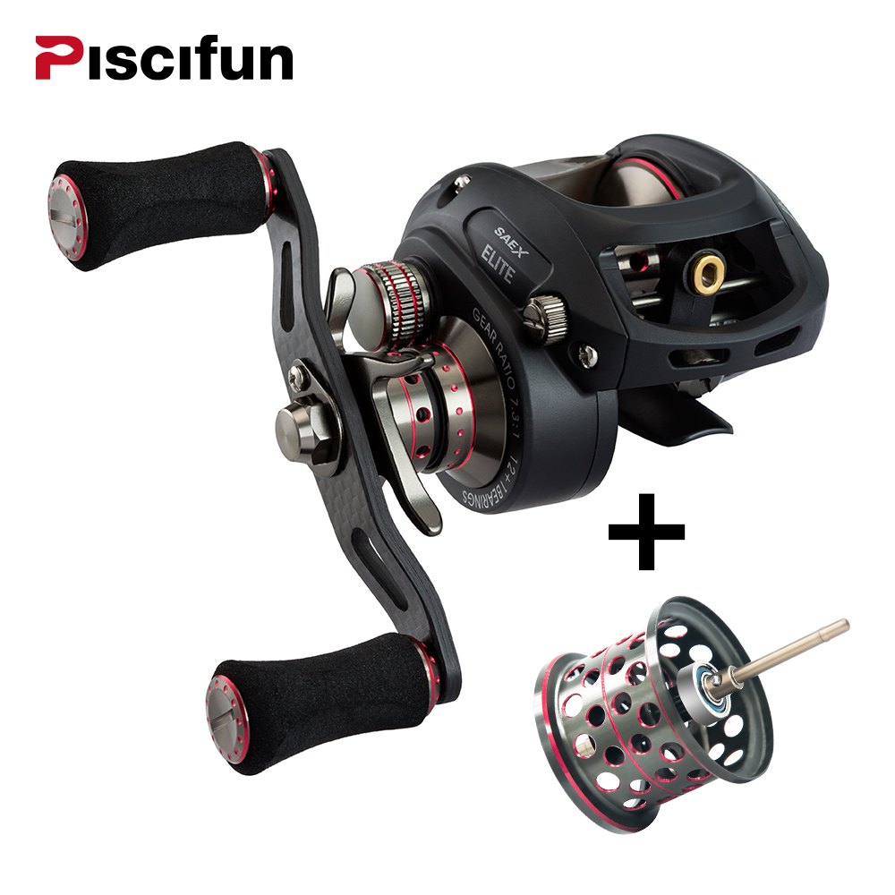 Piscifun SAEX ELITE Fishing Reel Extra Light Spool Kanan dan Kiri Tangan 13BB 7.3: 1 Nisbah Gear 167g Light baitcasting Reel