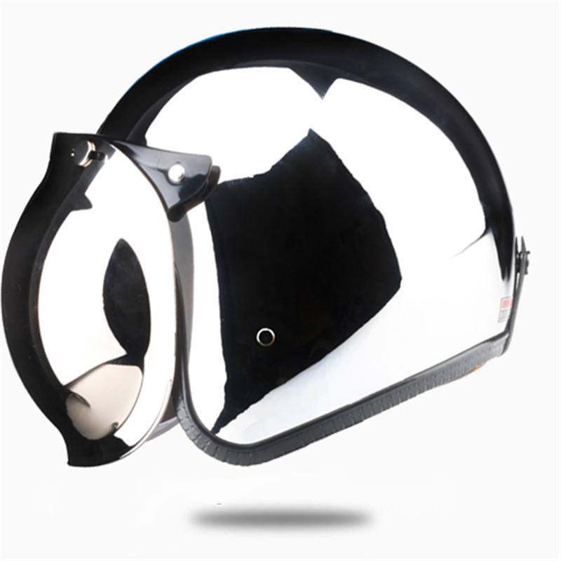 New Vcoros brand vintage motorcycle helme SILVER Chrome Mirror painting cascos capacete jet scooter open face retro helmets