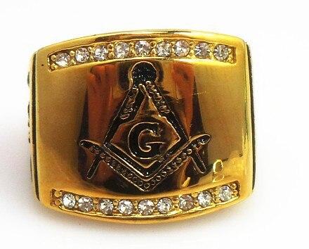 custom design cheap wholesale gold stainless steel Masonic ring mason ring wedding rings masonic signet ring - Cheap Men Wedding Rings