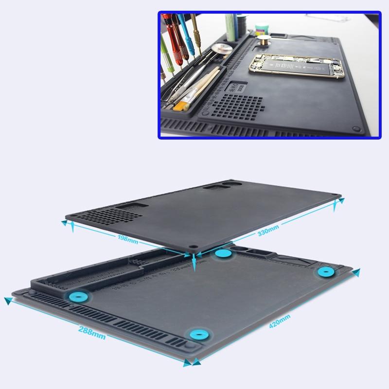 2 IN 1 Anti-static Soldering Mat ESD Heat-resistant Insulation Pad For IPhone Samsung Repair Tools BGA Soldering Rework Station