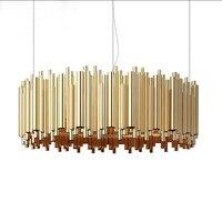 Italy Design Brubeck LED Gold Aluminum Alloy Tube Pendant Lights Lamps Suspension Luminaire Restaurant Hotel Lobby