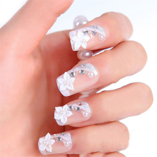 24Pcs Bride False Nails Tips with Designs Wedding Party Acrylic ...