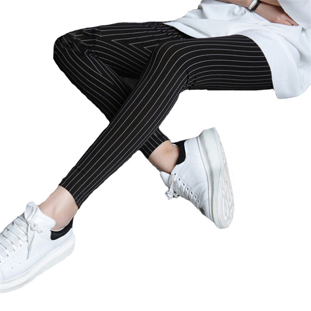 Hot Winter Thicken White Stripe Legging Warm Sexy Cotton Leggins Stretchy Slim Feminina Skinny Trouser Legins For Women K125