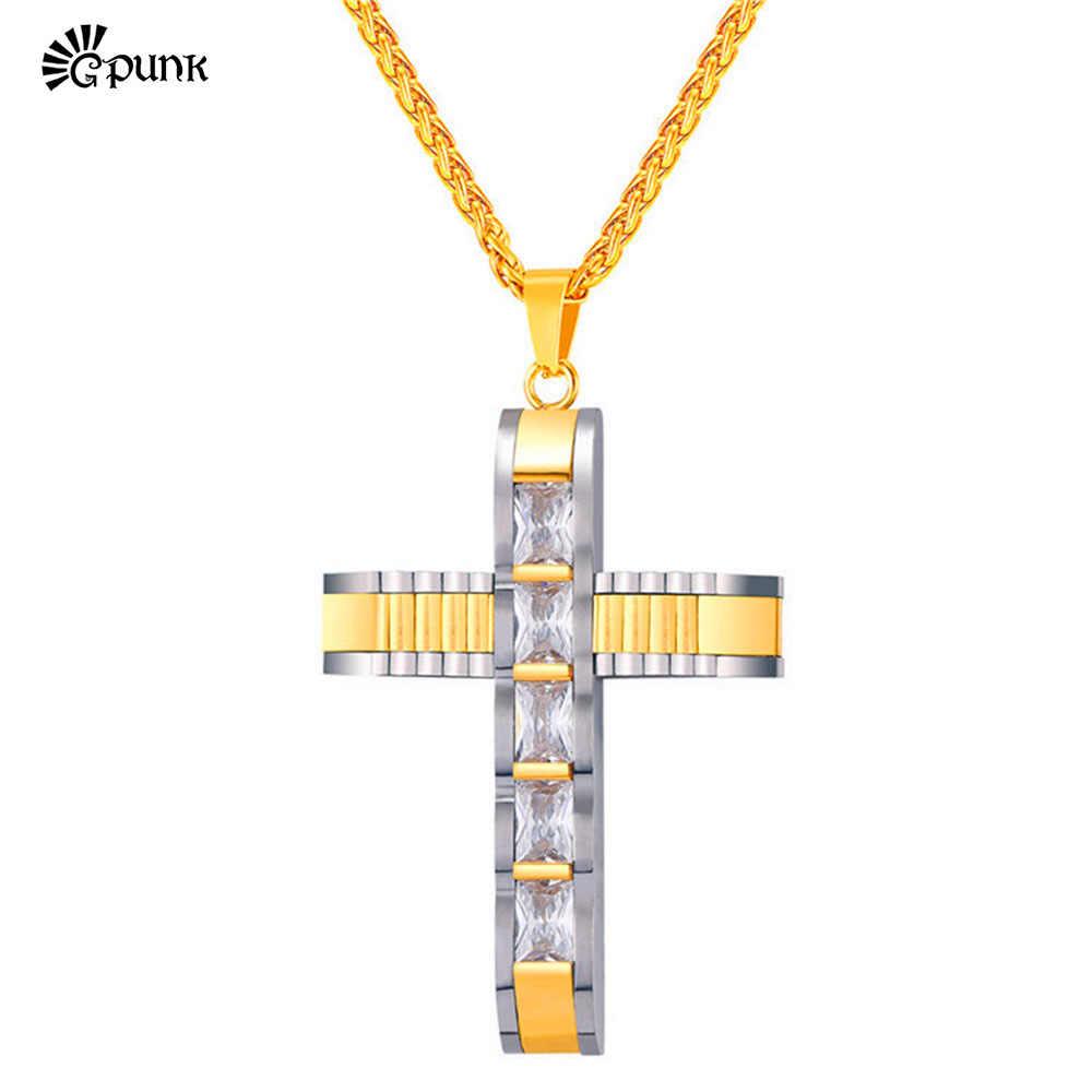 Ze stali nierdzewnej krzyż naszyjnik z łańcucha mężczyzn dla kobiet luksusowe AAA + cyrkonia kryształ czarny hip hop biżuteria P2575G