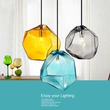 الحديثة الحد الأدنى قلادة أضواء الإبداعية الملونة الزجاج مصابيح متدلية مطعم LED مصابيح داخلي إضاءة المنزل