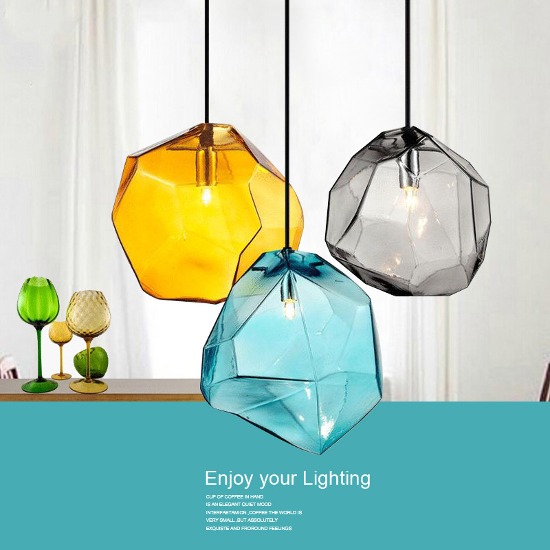 Modern Minimalist Pendant Lights Creative Colorful Glass Pendant Lamps Restaurant LED Lamps Indoor Home Lighting