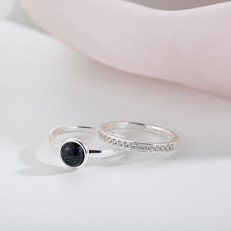 Sa Silverage 925 Sterling Silver Ring Set Black Gemstone Rings Girl