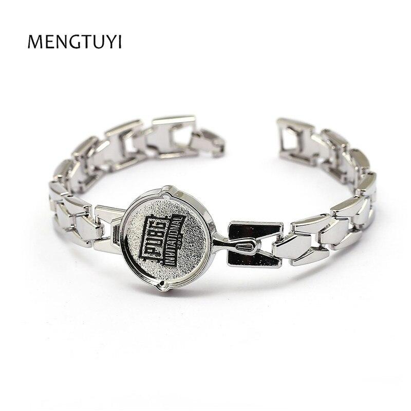 Mengtuyi 12pcs/lot Men Jewelry silver metal Bracelet bangle PUBG frying pans charms Bracelets men jewelry punk pulseira masculin