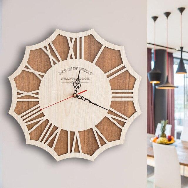 PINJEAS Деревянные Настенные Часы Творческий Современный Настенные Часы Ретро Карманные Часы Декор Ремесла Природного Настенные Часы Античном Стиле Часы