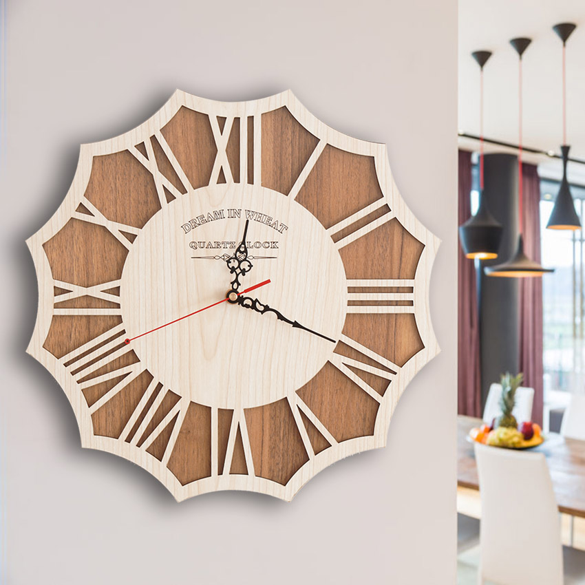 pinjeas wooden wall clock creative modern wall clock retro pocket watch decor crafts natural. Black Bedroom Furniture Sets. Home Design Ideas