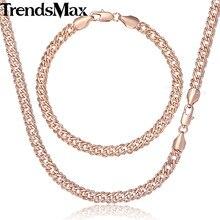 0e4918ba2642 Trendsmax conjunto de joyas collar de pulsera para mujer 585 pulsera de oro  rosa para mujer collar de cadena de eslabones veneci.