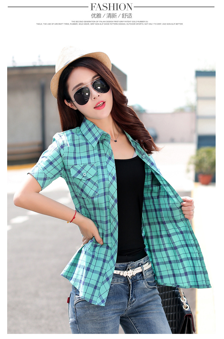 HTB1MmnMHFXXXXXbXpXXq6xXFXXXt - New 2017 Summer Style Plaid Print Short Sleeve Shirts Women