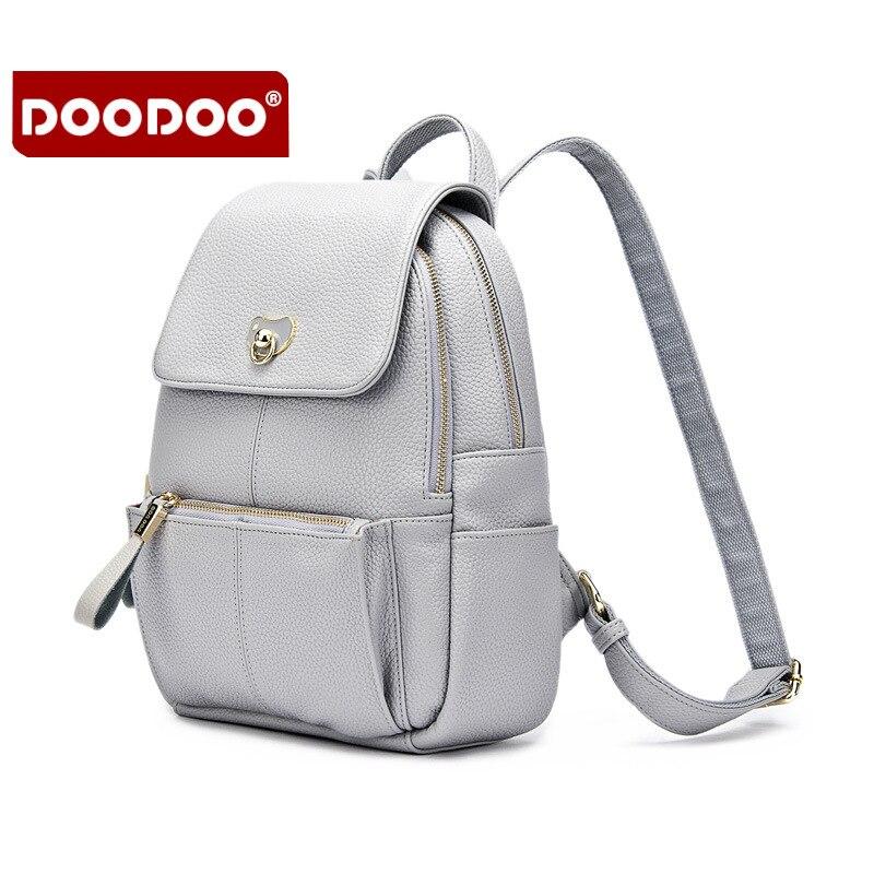 DOODOO Lady brand Genuine Leather Backpack Designer Brand School Backpack Vintage Korea fashion Motorcycle Backpack Female