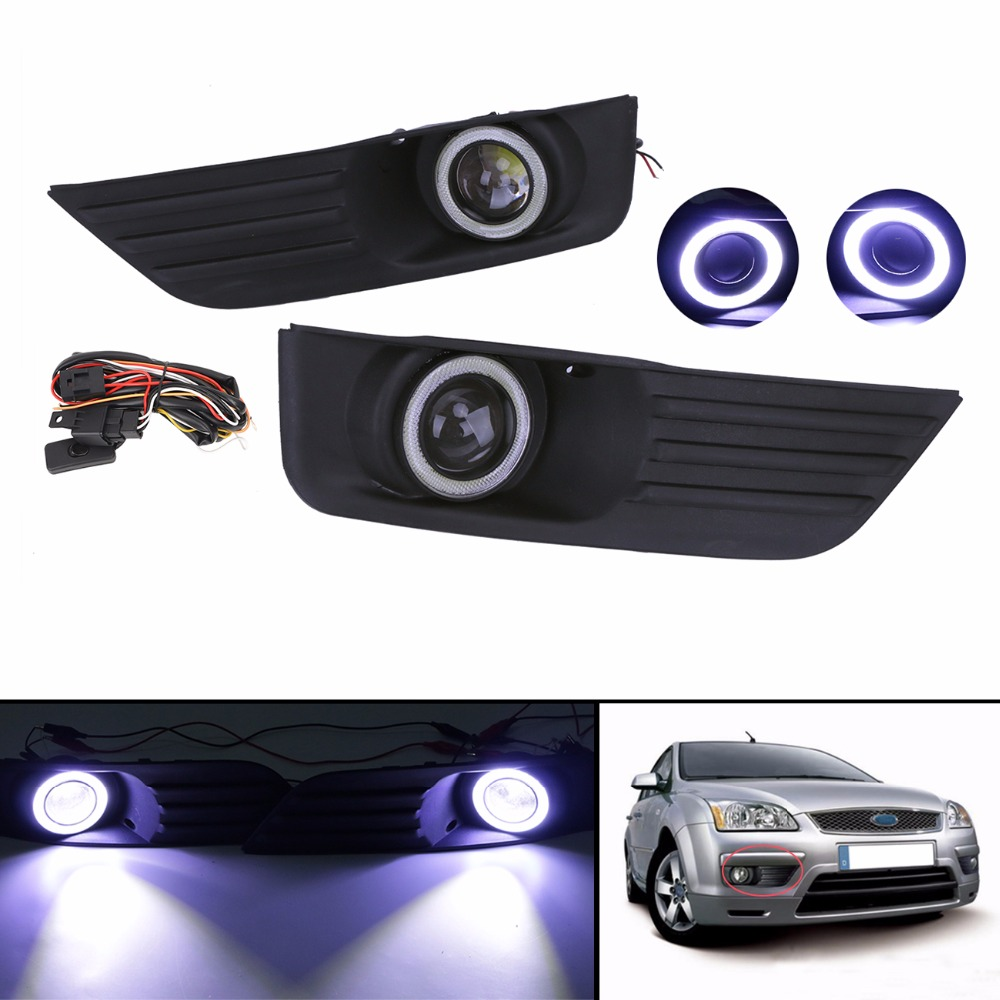 Angel Eyes Front Bumper Fog Lights Lamps Grille Grill + LED Convex lens Fog Light For Ford Focus 2005 2006 2007 CAR-P366 C/5 front bumper fog lamp grille led convex lens fog light angel eyes for vw polo 2001 2002 2003 2004 2005 drl car accessory p364