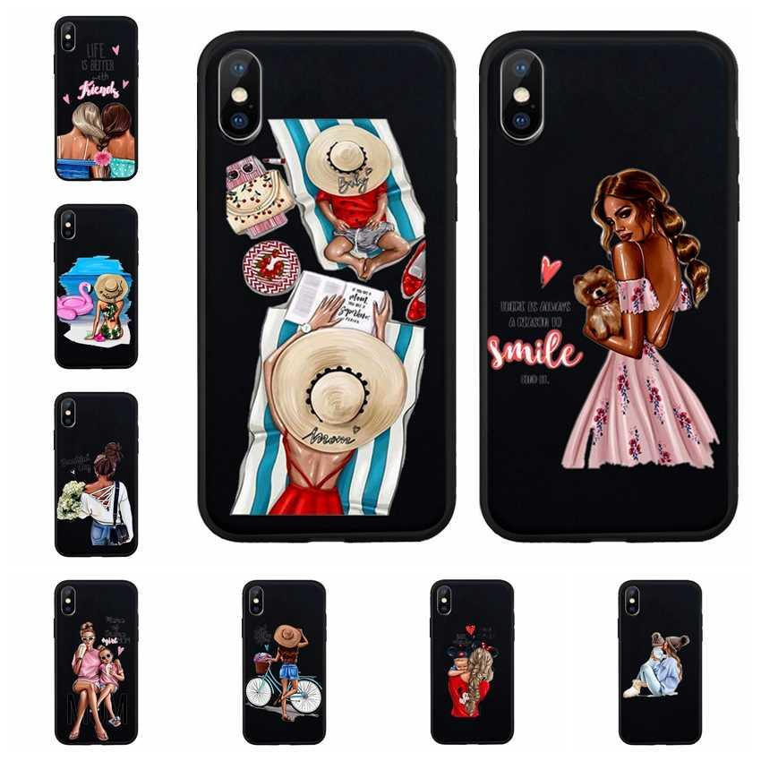 Funda de teléfono negra suave de la muchacha de la manera para iPhone X XS Max XR 7 8 encantadora cubierta de silicona de la madre del niño para iPhone 6 iPhone 6 6S Plus Z601
