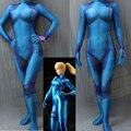 Alta Calidad Samus Aran Cero Juego 3D de Impresión Chica Traje de Superhéroe Traje Zentai Morph Traje En Azul Samus Samus Traje