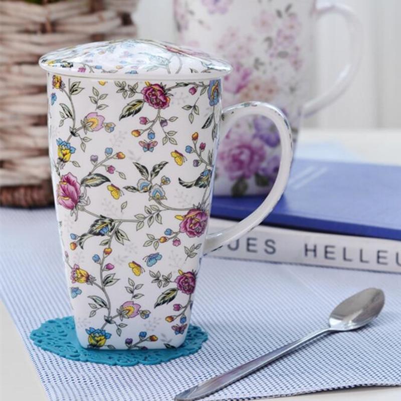 700ML procelain coffee mugs tea cups and mugs with cover large capacity handpainted drinkware