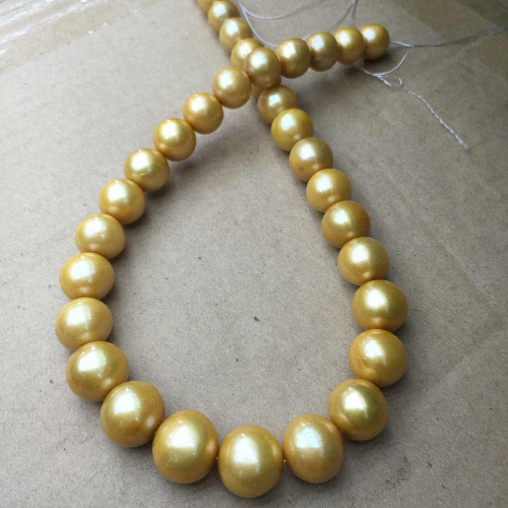 """חדש 17 inch 16-12 מ""""מ שרשרת פניני זהב ים מדרום מצופה עגיל אבזם"""