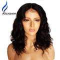 ALICROWN Human Hair Wavy Lace Front Wig Bleached Knots Short Glueless Full Lace Brazilian Wig Short Lace Front Wig Human Hair