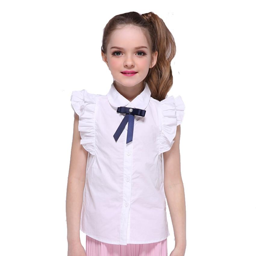 Lányok Fehér Blúzok Pamut Rövid ujjú ingek diákoknak Iskolai egyenruhák Turn-Down gallér Tizenéves felsők 4 6 8 9 10 12 14 év
