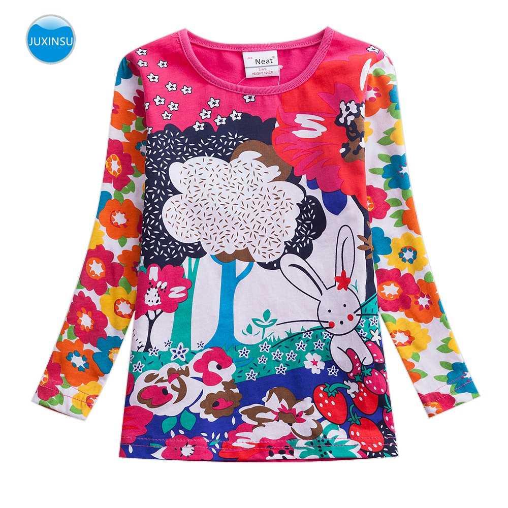 JUXINSU Kızlar Çiçek pamuklu uzun kollutişört T-shirt Orman Tavşan Karikatür Baskı Sonbahar Kış Kız Rahat gömlek 1-8 Yıl
