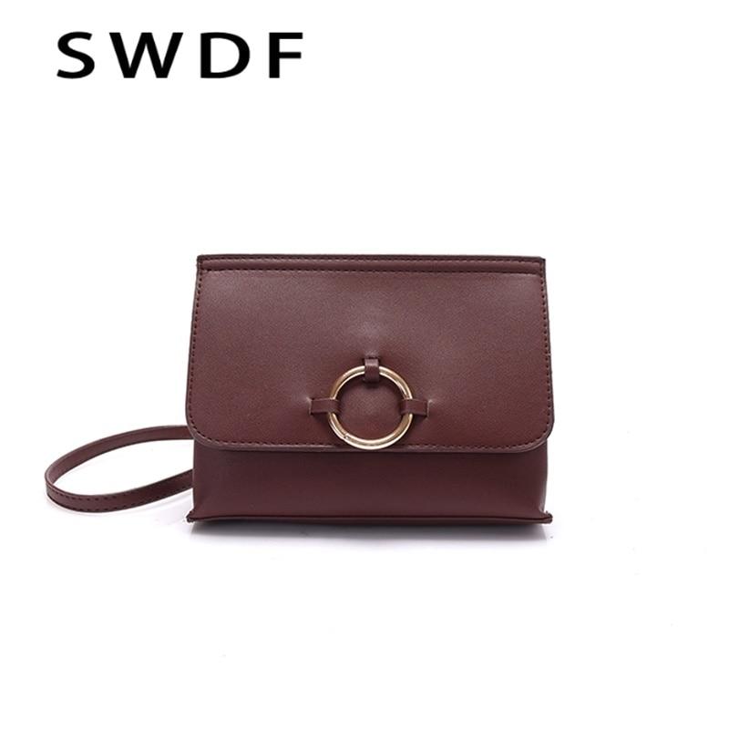 SWDF Fashion Woman Messenger Bags Retro Leather Iron Ring Shoulder Strap Womens Handbags Ladies Designer Rivet Flap Shoulder Bag