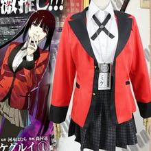 Популярные крутые костюмы для косплея, аниме Kakegurui Yumeko Jabami, японская школьная форма для девочек, полный комплект, куртка+ рубашка+ юбка+ чулки+ галстук
