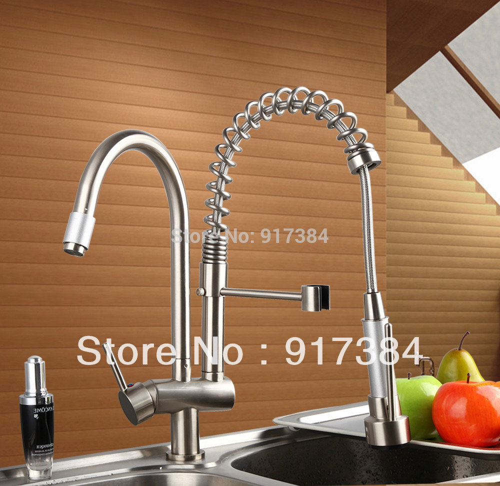 Nickel Brushed Deck Mount Spring Kitchen Faucet Swivel Spout Single Handle Pull out Spray Sink Mixer Tap L-8525-7 цена и фото