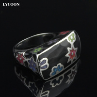 LYCOONแฟชั่นผู้หญิงที่มีสีสันดอกไม้เรซิ่นแหวนสแตนเลส316Lโปแลนด์นำเข้าสีดำเคลือบแหวนในรูปทรงส...