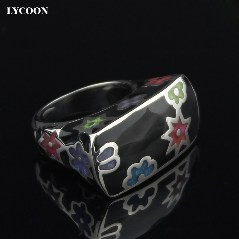 LYCOON Fashion woman colorful flowers resin rings 316L stainless steel polish Imported black Enamel ring in square shape SUK0009