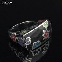 LYCOON kobieta Moda kolorowe kwiaty żywiczne pierścienie ze stali nierdzewnej 316L polski Importowane czarna Emalia pierścień w kształcie kwadratu SUK0009