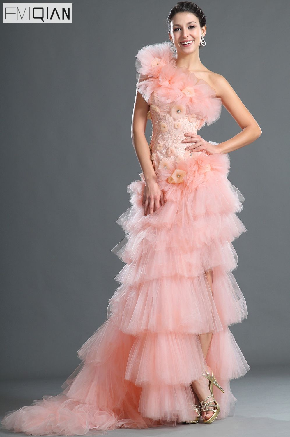 Free Shipping Gorgeous One Shoulder Asymmetrical Gown Flowers Pink ...