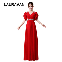 long beautiful fashion elegant sleeveless modest plus size red chiffon special occasion sexy bridesmaid dresses free shipping
