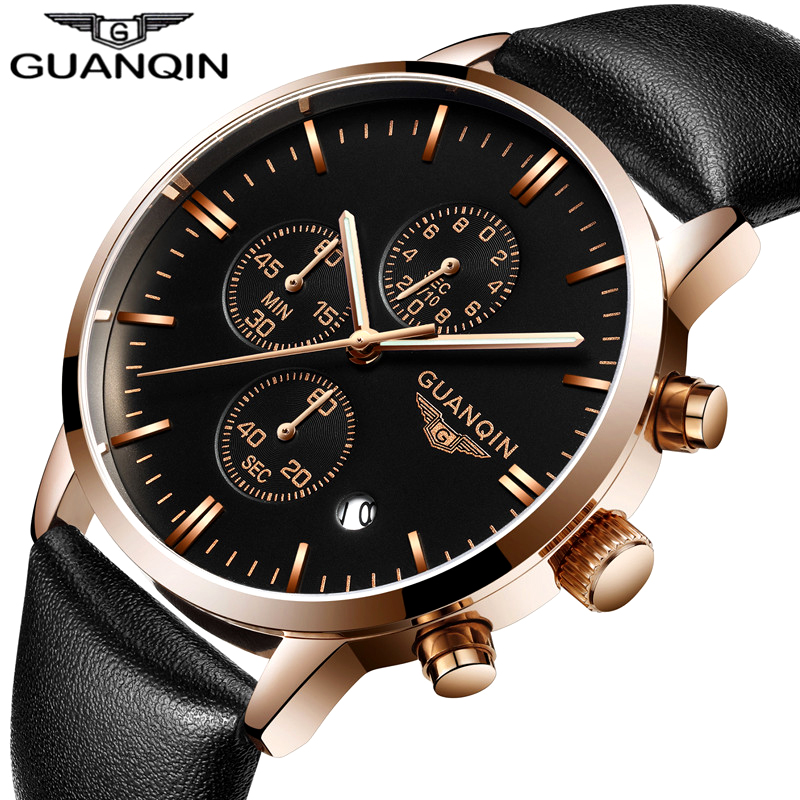 GUANQIN Quartz Watch Mens Watches Top Brand Luxury Chronograph Clock Men Sport Waterproof Leather Wristwatch relogio masculino  mens watches top brand luxury jedir quartz watch chronograph luminous clock men military sport wristwatch relogio masculino